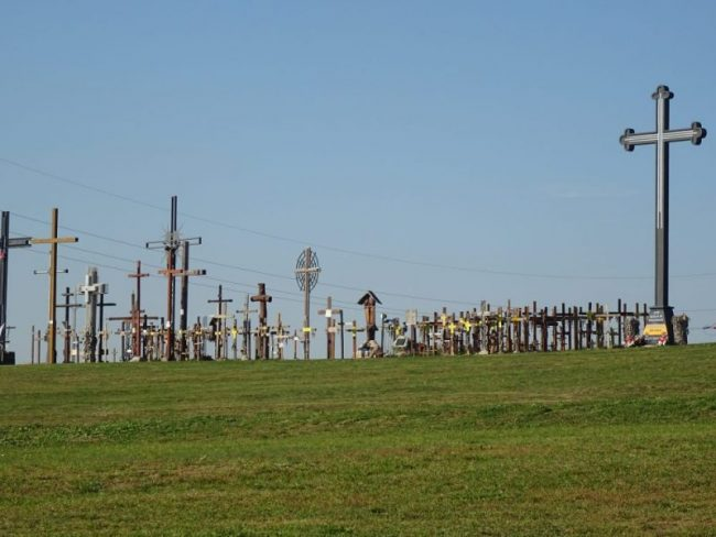 hill of crosses at holy water sanctuary poland