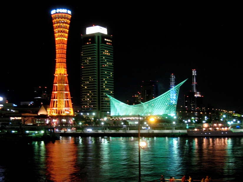 night skyline of kobe, japan
