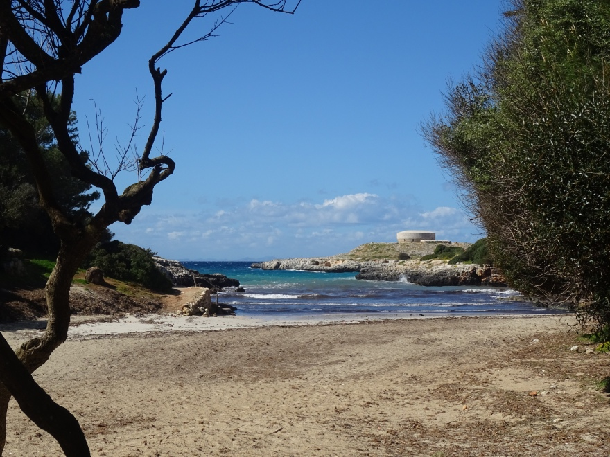 view into the sea from a cove on menorca