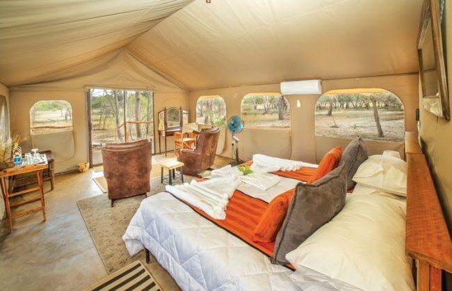 inside a luxurious tent at the iganyana safari camp