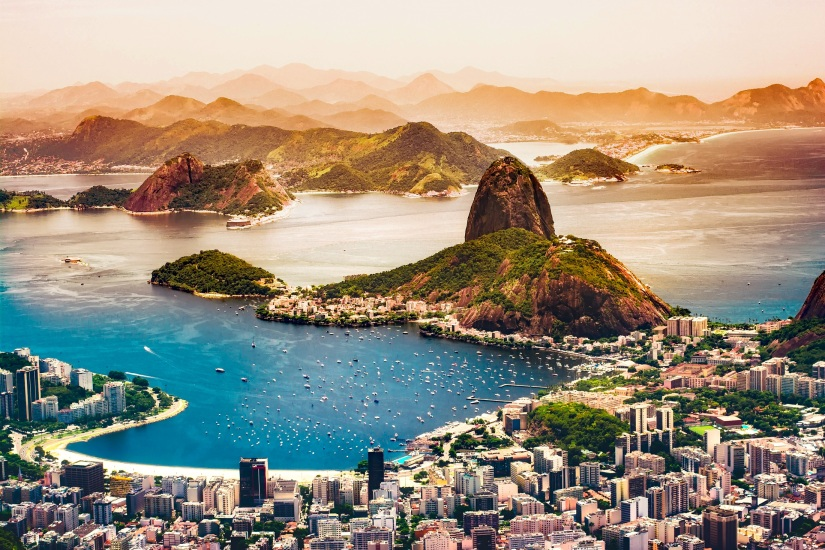 view over beaches and city of rio de janeiro brazil