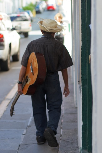 musician on the streets on san juan in puerto rico