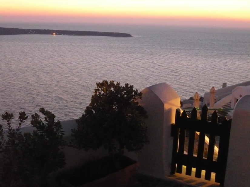 dusk at oia santorini greece