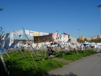 colourful washing dries in the riverside breeze in portugals porto