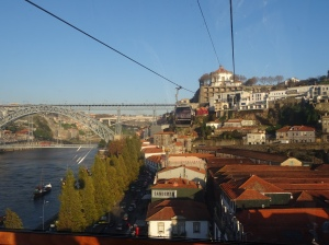 an autumn view over portos riverside in portugal