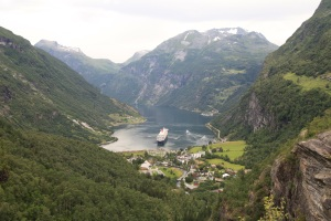 cruise liner in the norwegian fjords