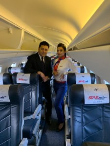 cabin crew inside star air plane