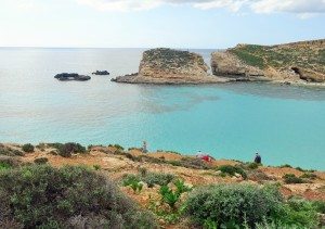 the blue waters of comino in malta where part of the movie troy was filmed