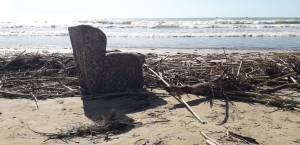 bamboo and armchair washed up on the costa dorada