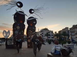 the statues and monuments for the fisherman at the port of cambrils in spain's catalonia