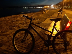 biking at night from cambrils to salou on the costa dorada