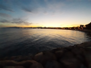 the coastline of cambrils on the coastline of catalonia by night