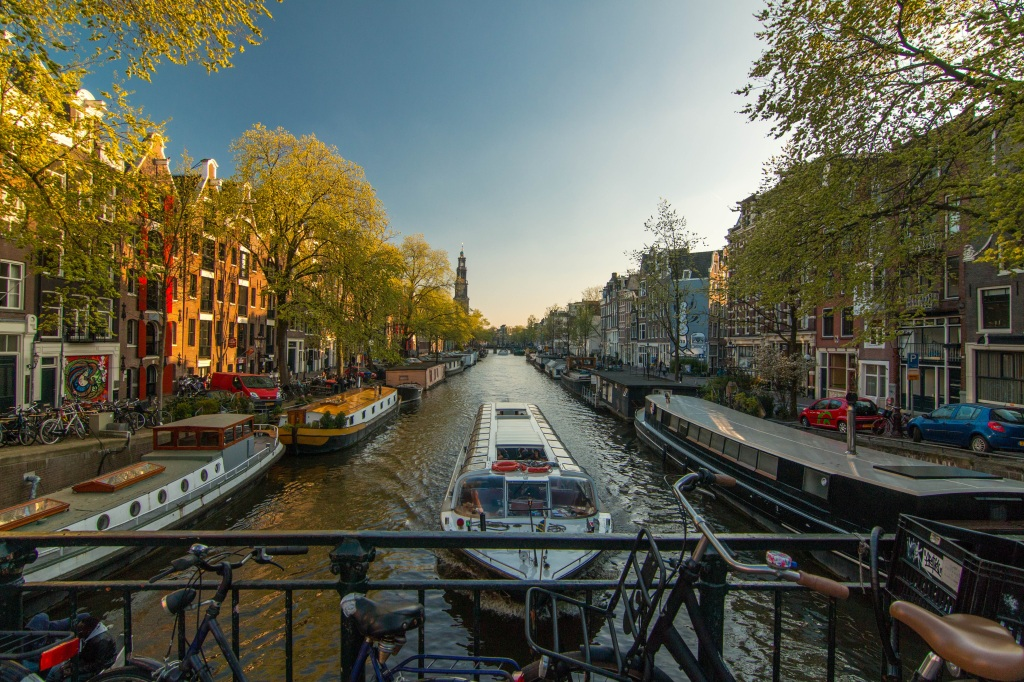 the canal and boats of amsterdam in holland