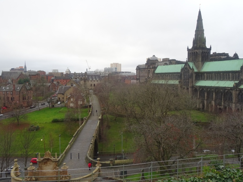 a view over glasgow cathedral and museum quarter from the necropolis