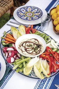 tuna aioli dip with balsamic drizzle and raw vegetables